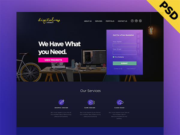 Digital Agency Website Template Design – Free PSD