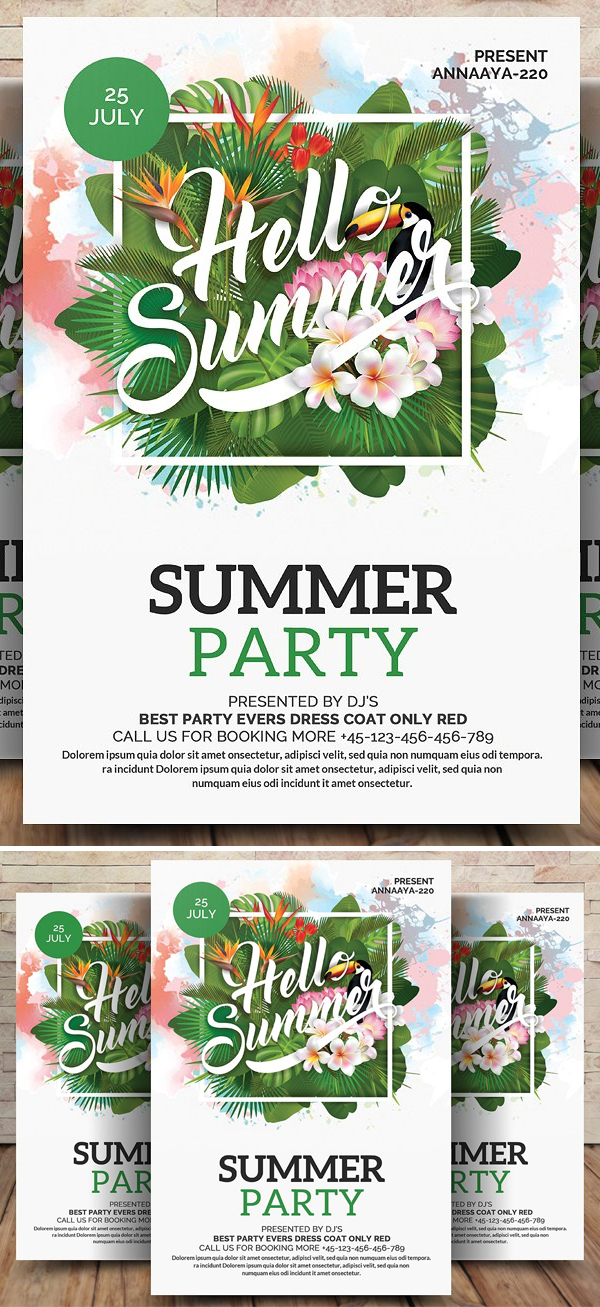 Summer Party Flyer Hello! Summer