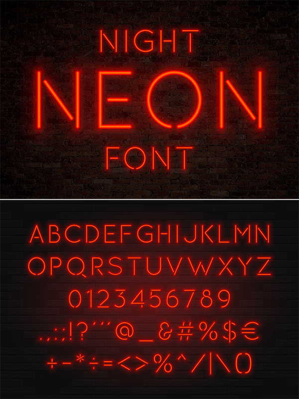 Night Neon SVG Font - Red