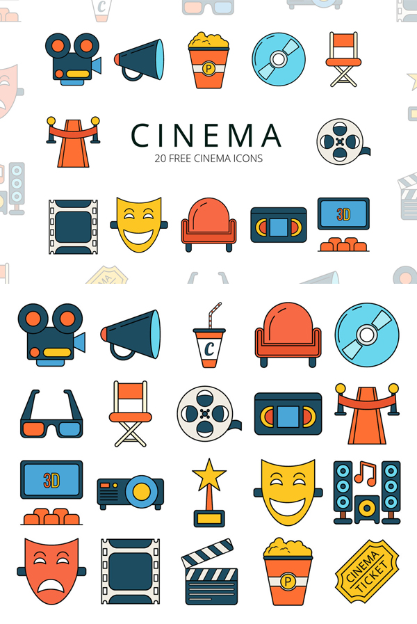 Cinema Free vector Icon Set