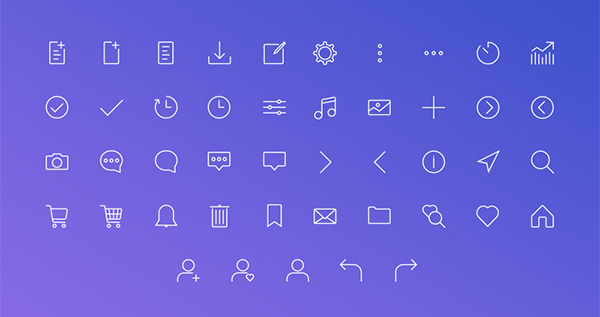 Clean Custom Stroke Icons Set For Web