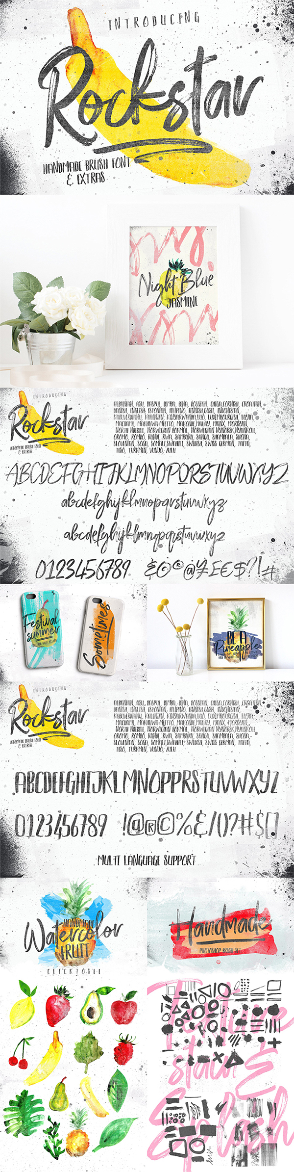 Handmade Brush Font & Photoshop Brush Set Free Download