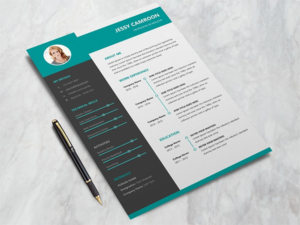 Free Microsoft Word Resume Template With Modern Design