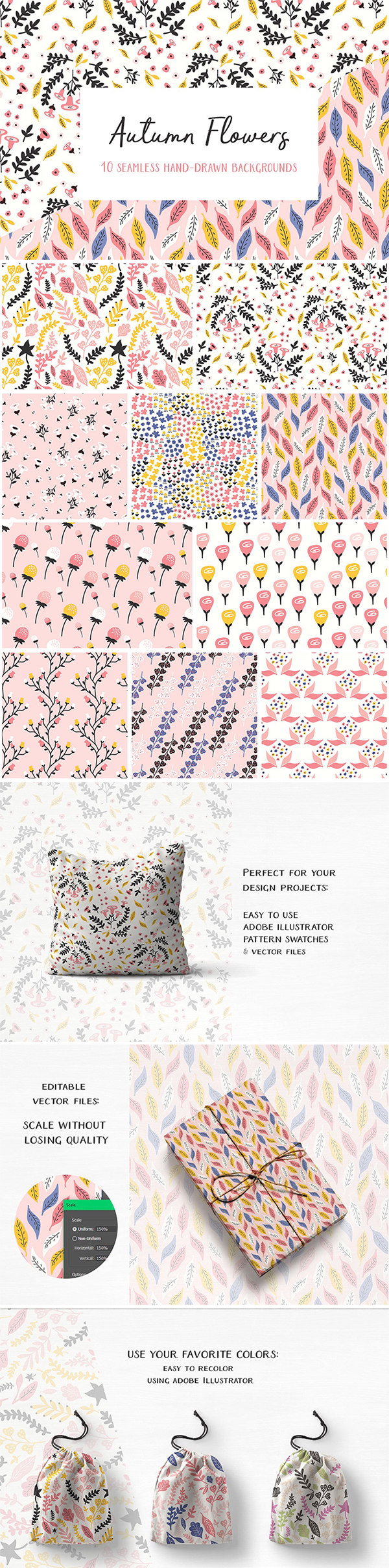 Free Download Beautiful Flowers Seamless Patterns For Designers