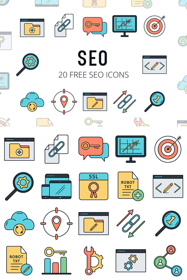 SEO Vector Freebie Icon Set