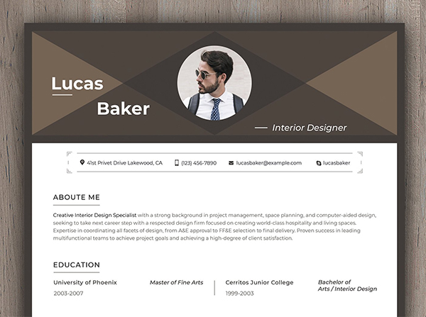 Editable Resume for Interior Designe