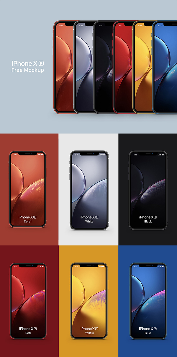iPhone XR Free Mockup Full Color