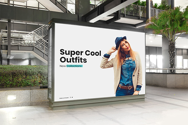Free Mall Indoor Billboard Digital Ad Mockup