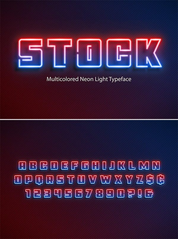 Multicolored Neon Display Font