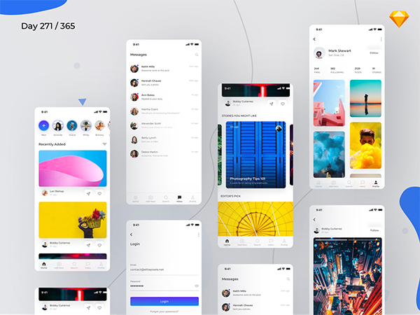Social App UI Kit Freebie