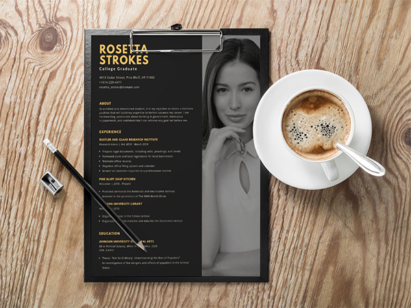 Free Black Simple Resume Template