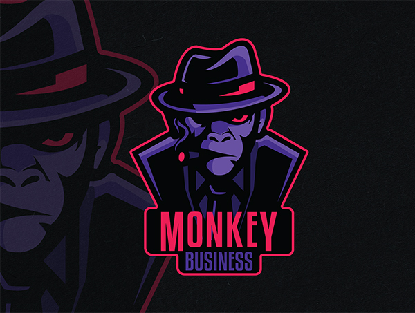 Monkey Business Mascot Logo