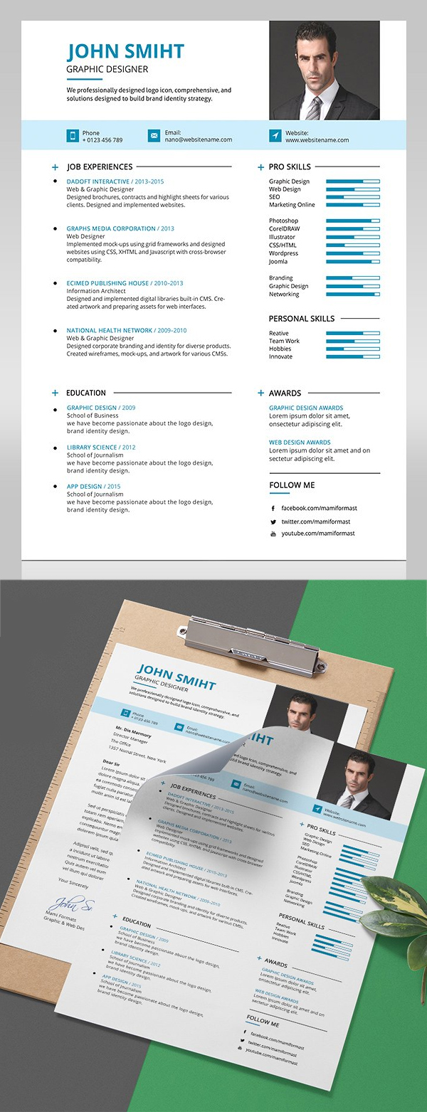 Awesome Resume template With Cover Letter