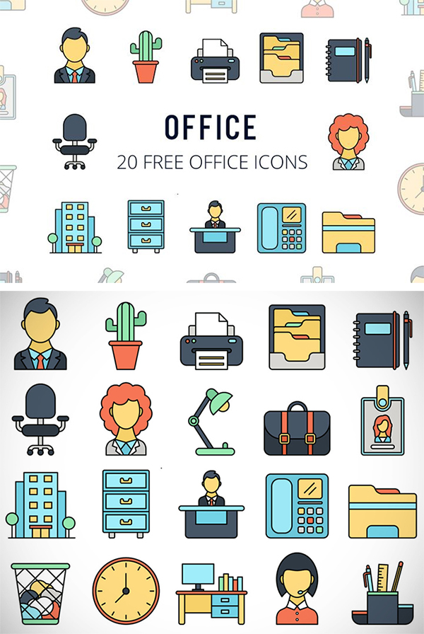 Free Download 20 Useful Office Icons (Vector)