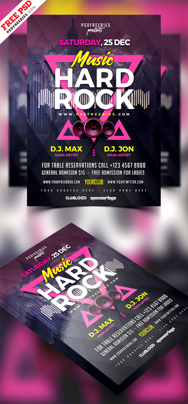 Rock Music Concert Flyer Template Psd