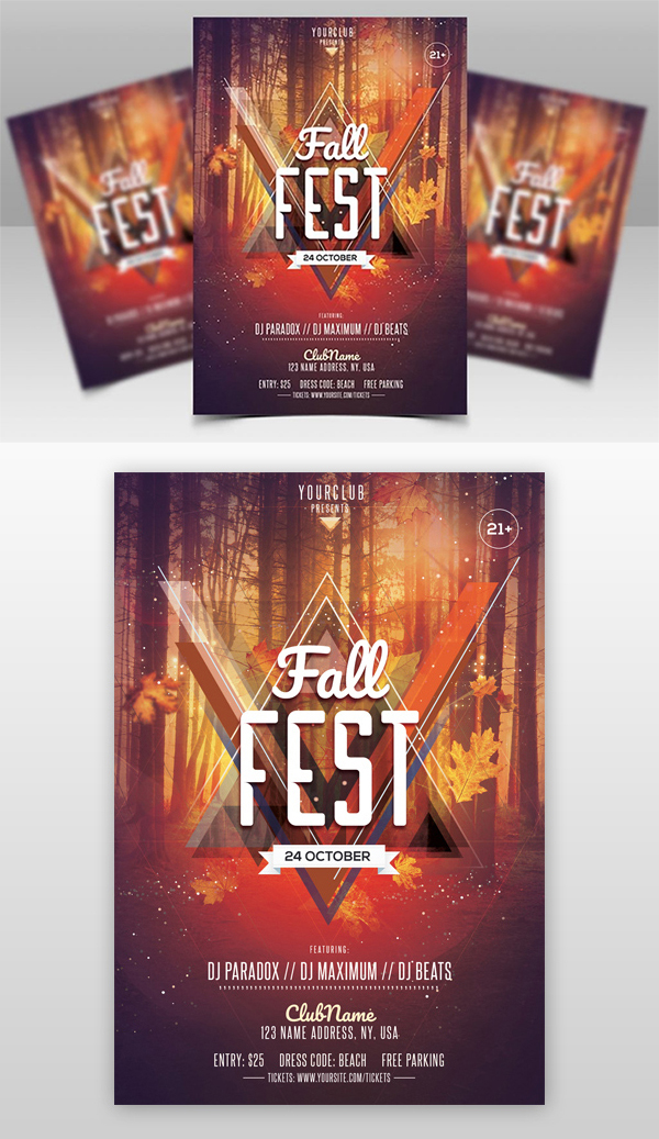 Freebie : Awesome Fall Fest Flyer Template Design (PSD)