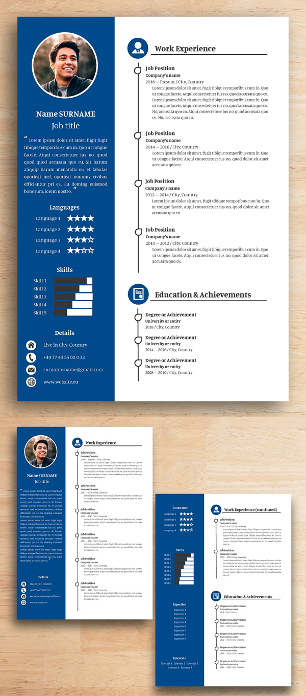 Resume & letter (Professional Blue)