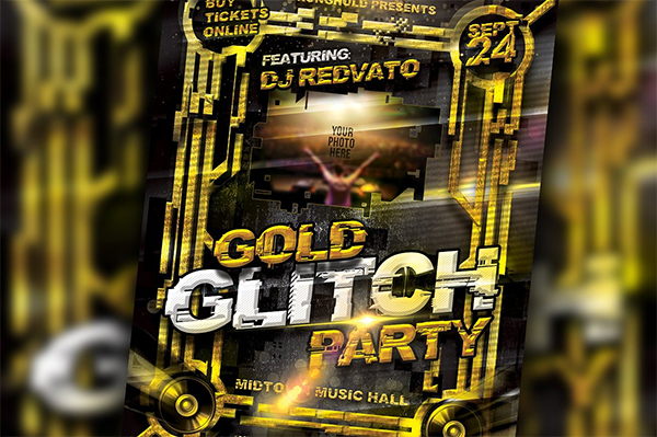 Gold Glitch Brand Party Flyer Set