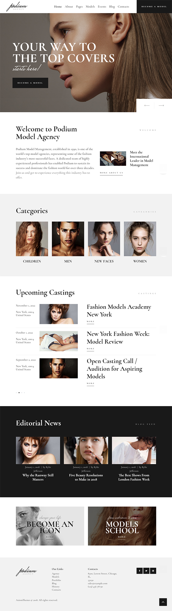 Podium | Model Agency WordPress Theme