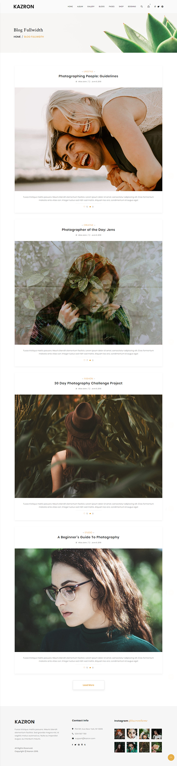 Kazron - Photography WordPress Theme