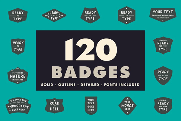120 Vector Badges With Fonts