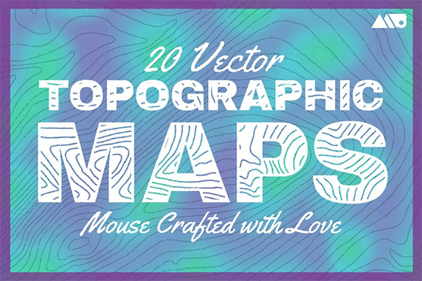 20 Topographic Maps Vector Pack
