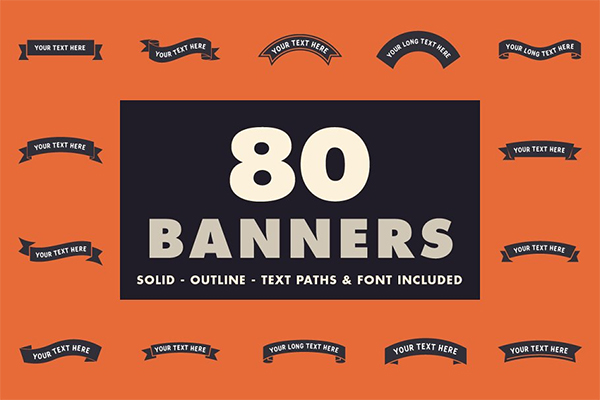 80 Banners With Text Paths & Font