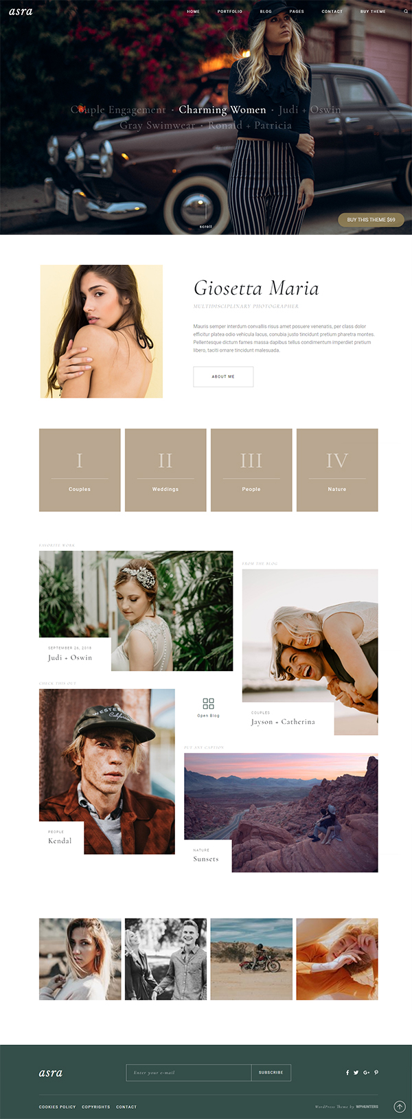 Asra - Minimalist Photography Portfolio WordPress Theme