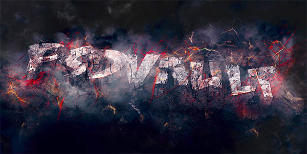 How to Create Rock 3D Text Effect with Flying Fire Sparks in Photoshop