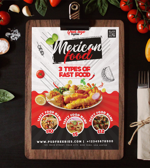 Restaurant Food Menu Flyer Design PSD