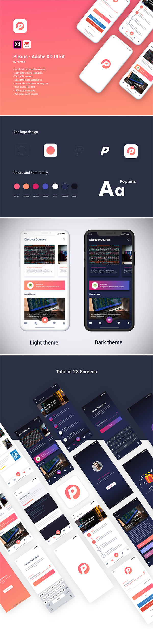 Free Download Creative Plexus Mobile UI kit (Adobe XD)