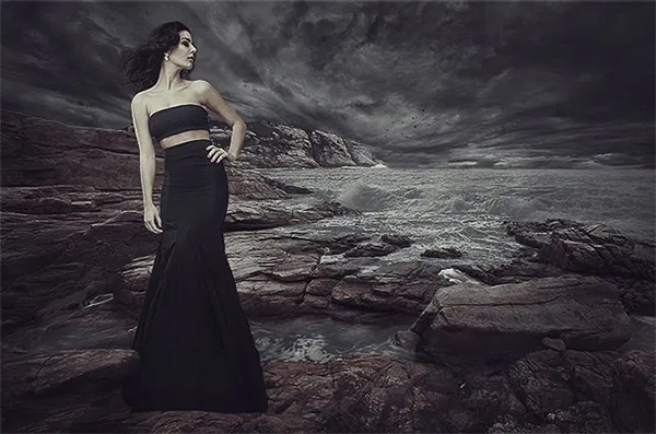 How to Add A Mermaid to a Dark Blead Landscape