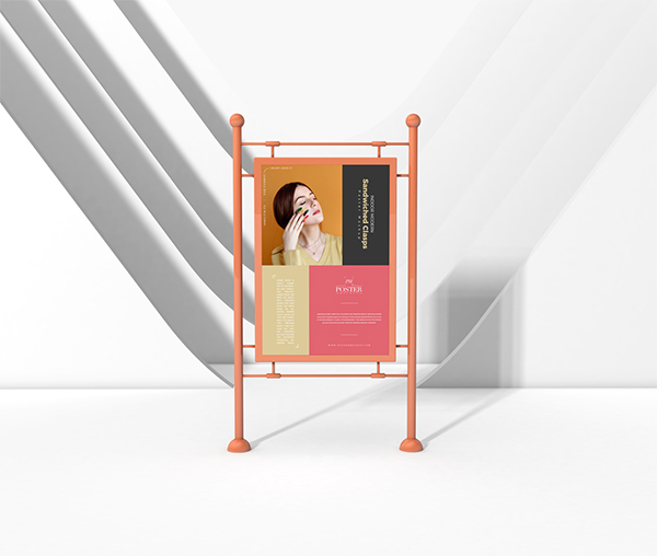 Indoor Modern Sandwiched Clasps Poster Mockup Free