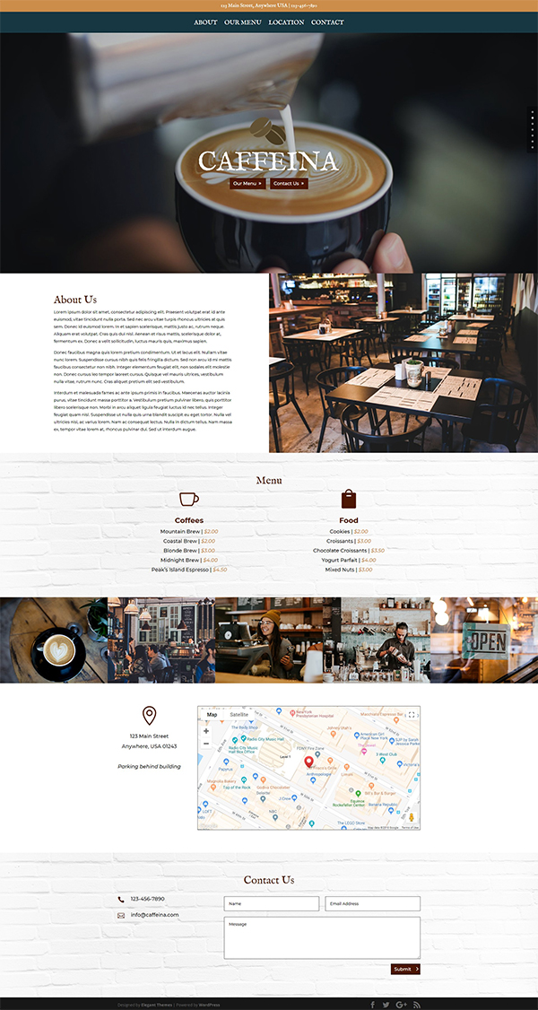 Caffeina - Divi Coffee Shop Layout