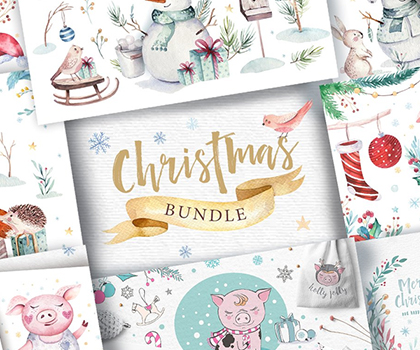Christmas Bundle : Awesome Watercolor Christmas Bundle (2019)