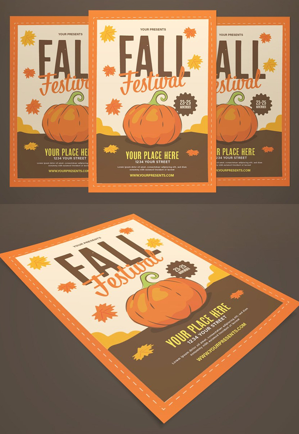 Fall Festival Flyer With Graphic Pum