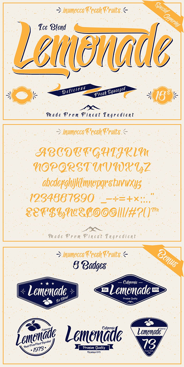 Lemonade font By inumocca_type