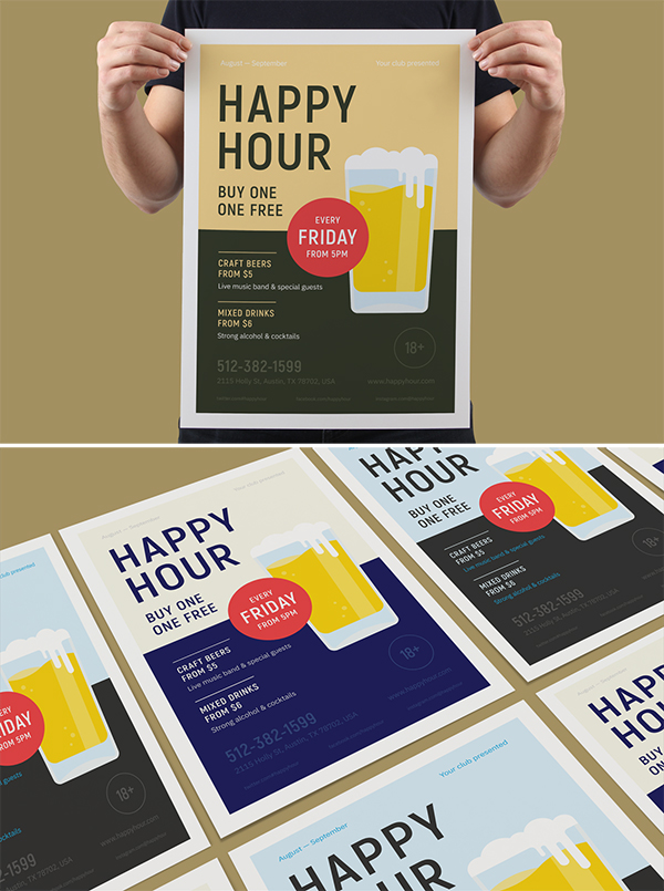 Happy Hour Beer Party Poster