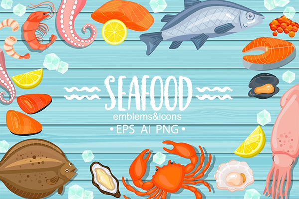 Seafood emblems and icons By tanda_V