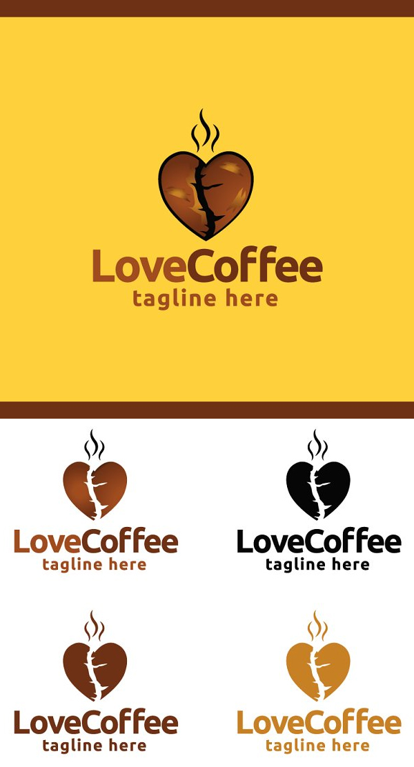 Love Coffee Logo Template