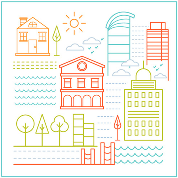 Create a Basic Shapes Little City Illustration