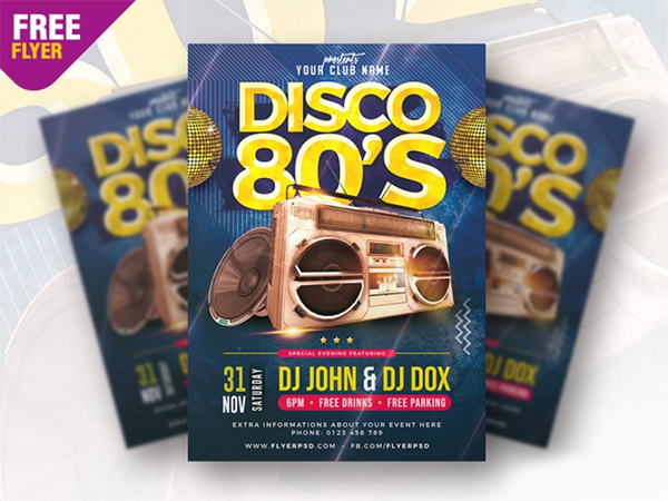 Classic Disco Party Flyer PSD