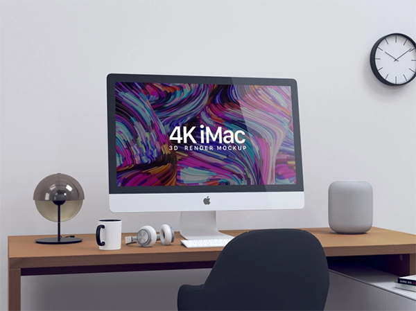 Free 4K iMac Screen Mockup PSD