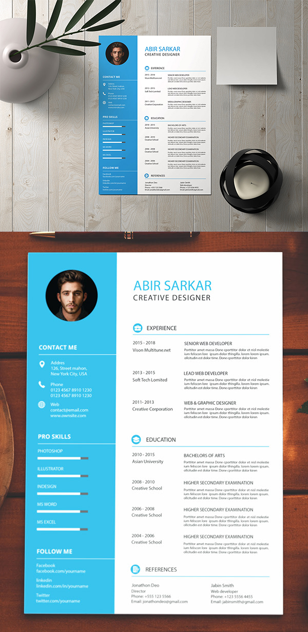 Free Resume / CV Templates With Mockup