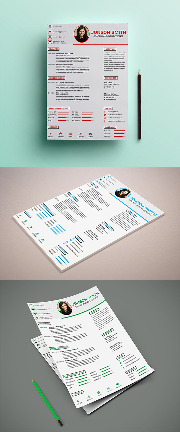 Free Download Clean Resume / CV PSD Template Design