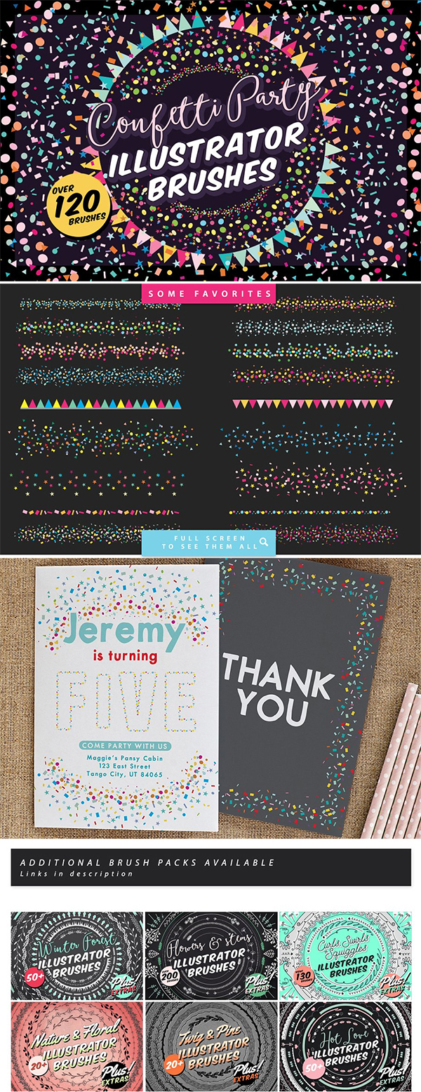 Confetti Party Illustrator Brushes
