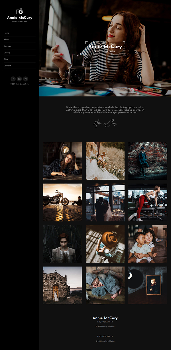 Annie - Creative Photography WordPress Theme