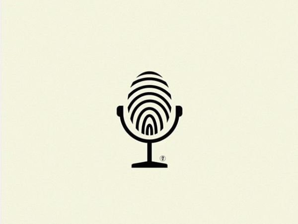 Microphone + Fingerprint Logo Design