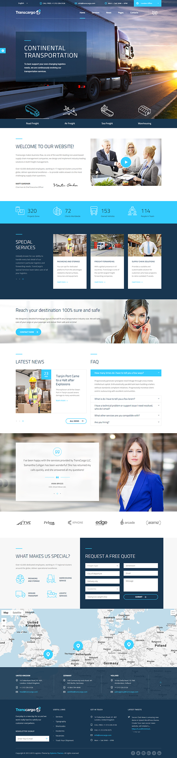 Transport WordPress Theme for Transportation, Logistics and Shipping Companies