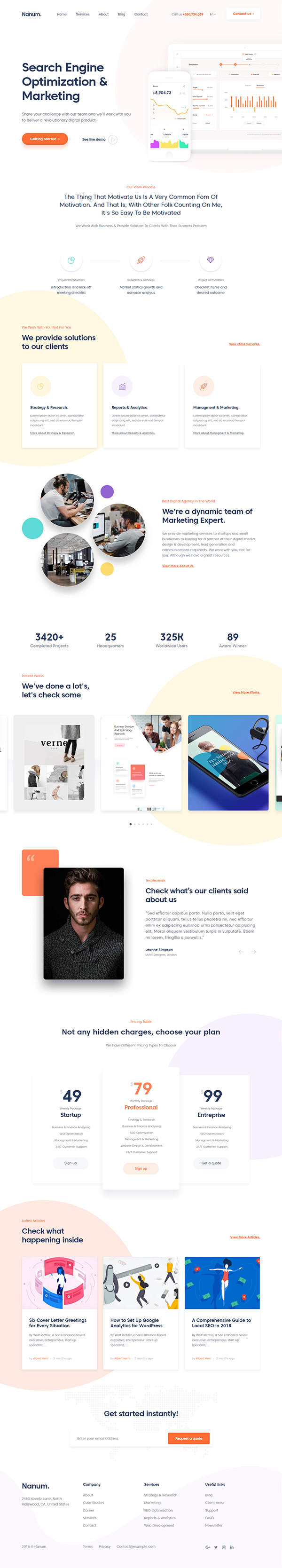 Nanum - WordPress theme of the Digital & Marketing Agency